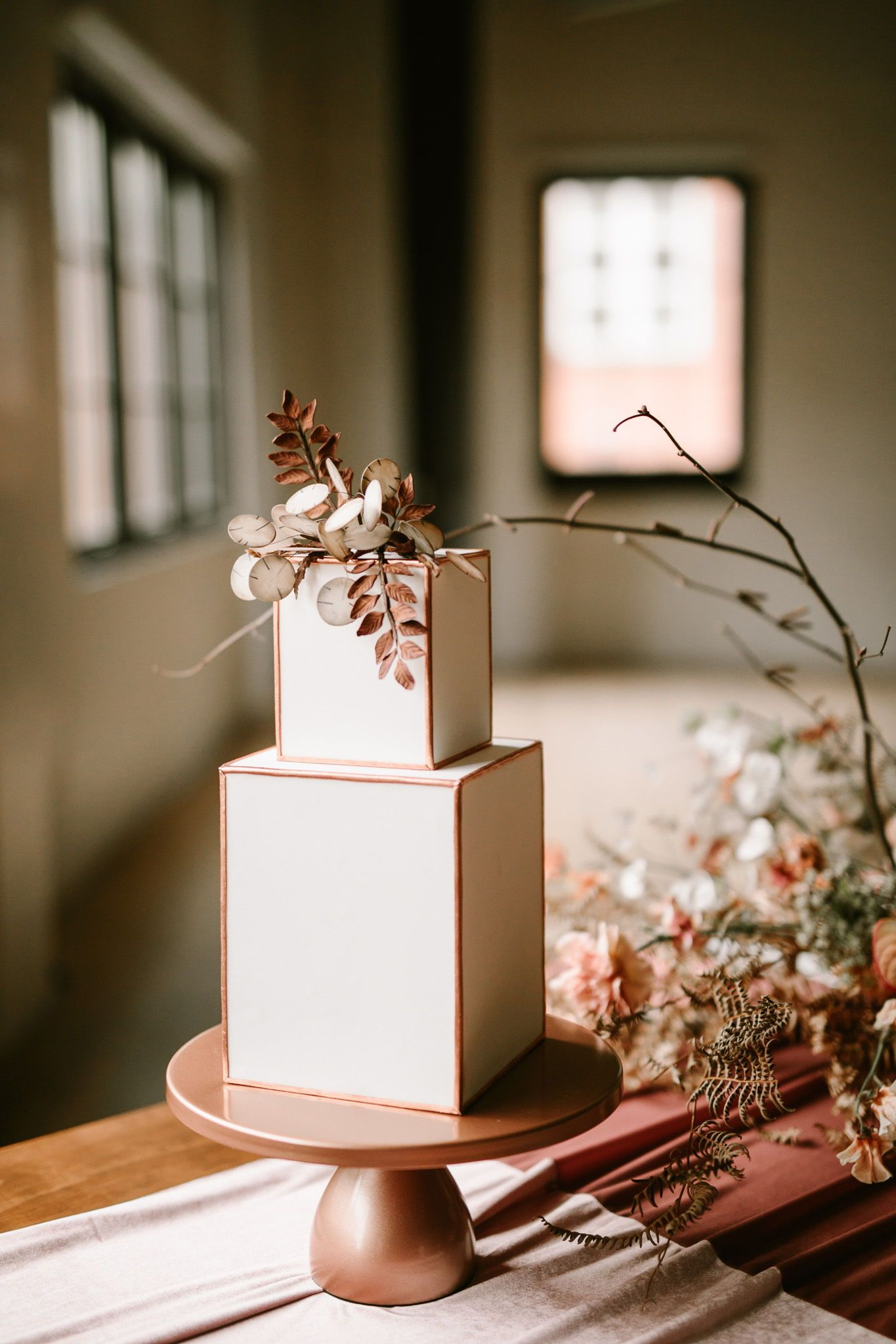 simple but unique two tier square weddng cakes