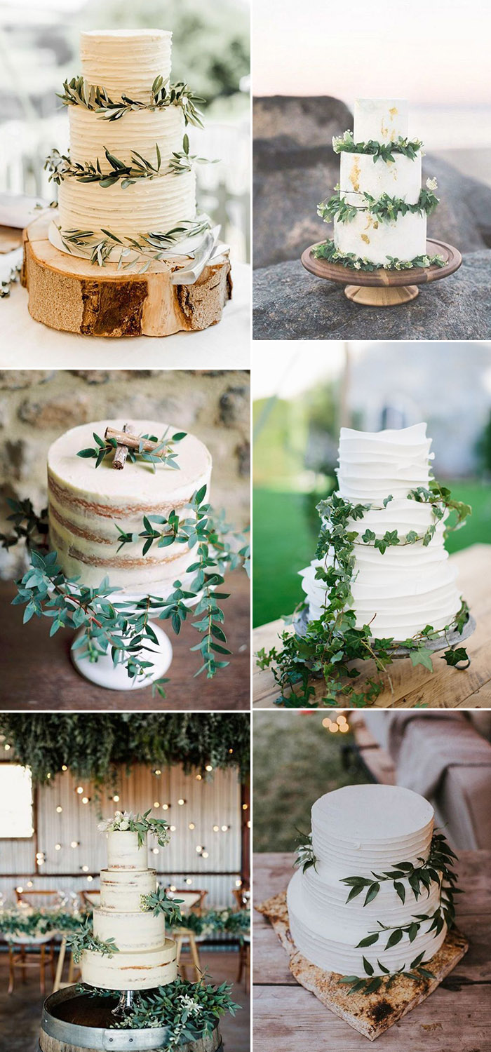 simple greenery and white wedding cakes