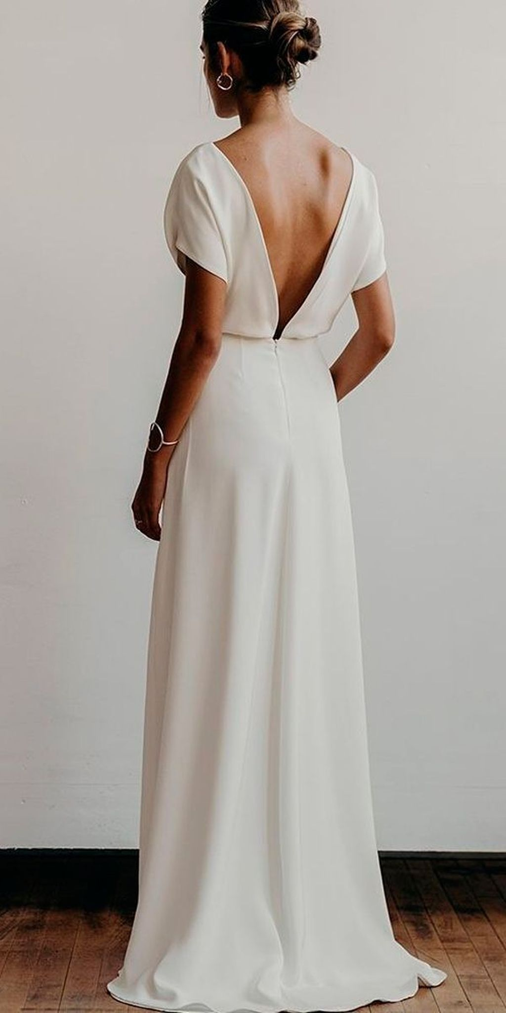 simple low back modern bridal gown