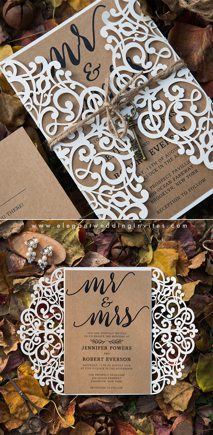 simple rustic chic laser cut wedding invitation for fall boho theme