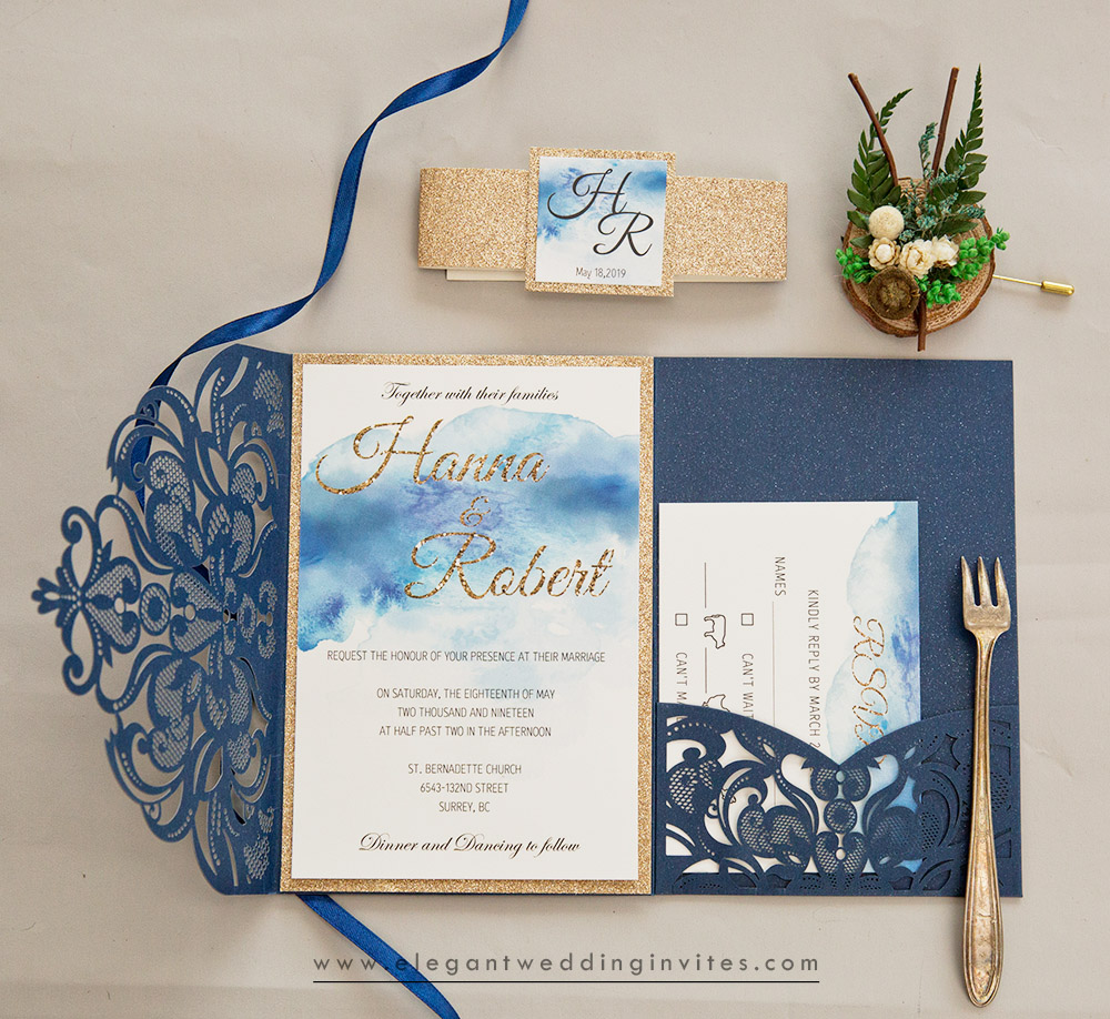 spring blue wedding invitation with watercoor inner cards