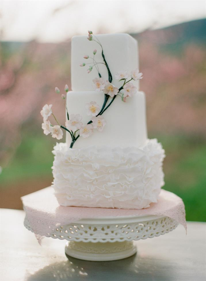 spring wedding cake inspiration with beautiful blush blossom