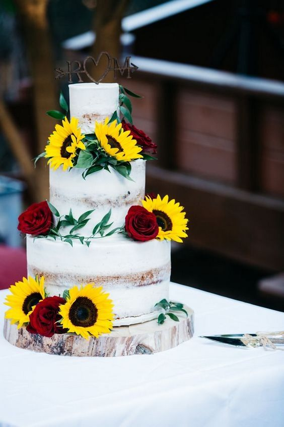 summer wedding ceremony ideas with sunflowers and burgundy roses
