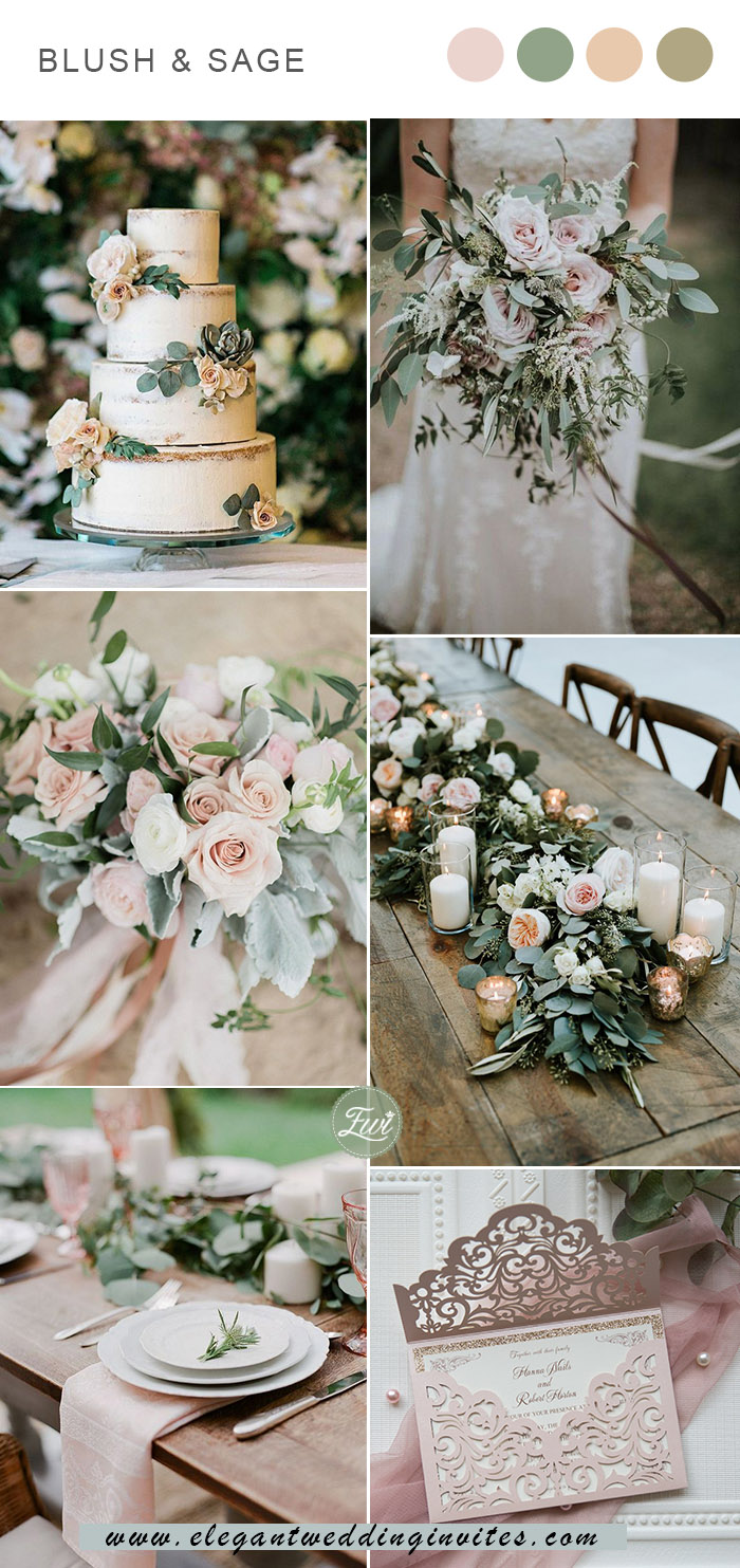 sweet blush and sage green spring and summer garden wedding color scheme