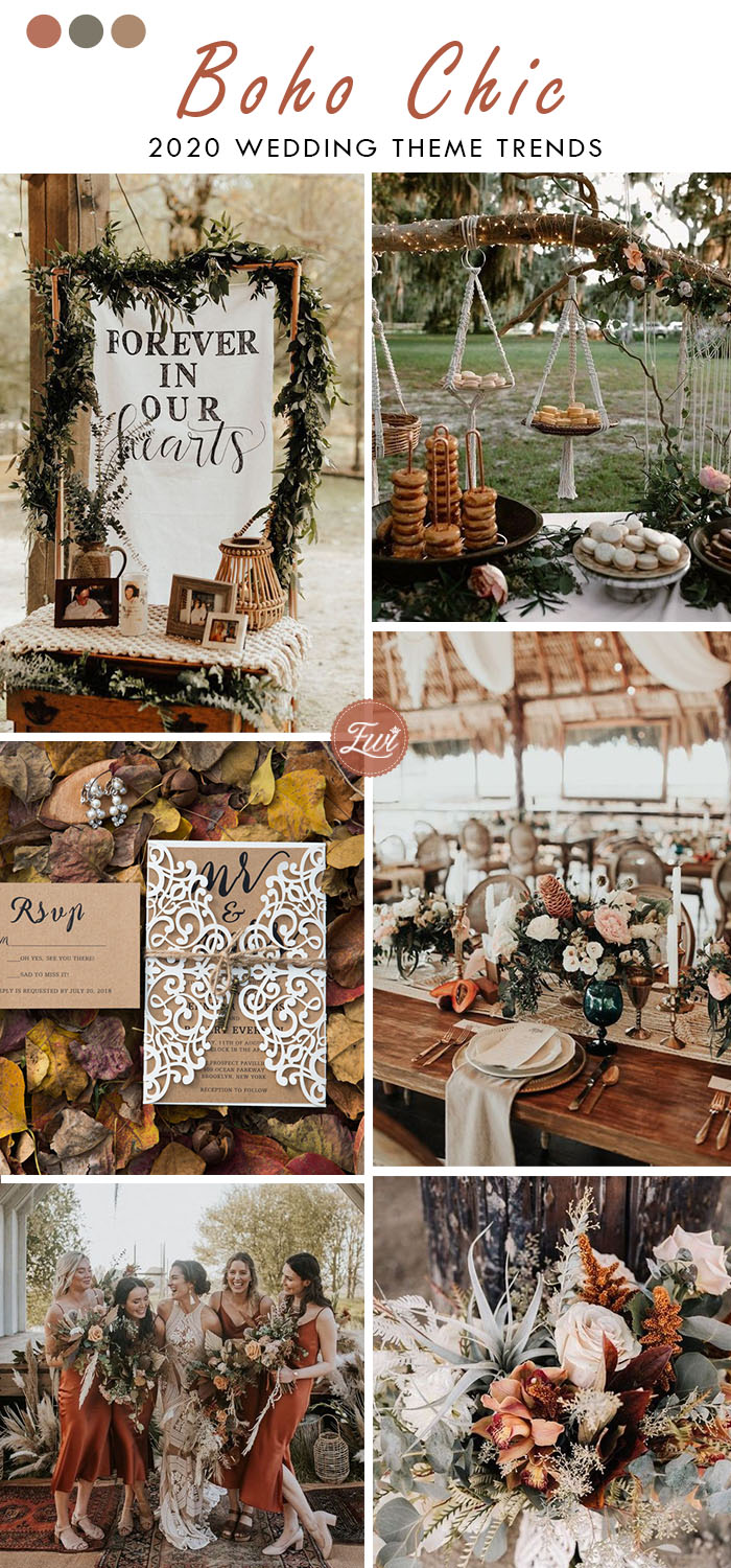 terracotta boho chic rustic wedding color theme trend for fall and autumn