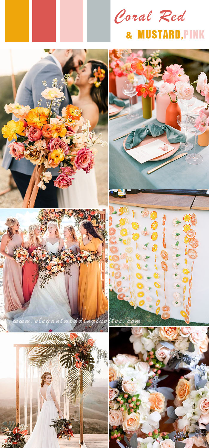 vibrant and colorful summer beach wedding colors in coral red,mustard yellow and blush