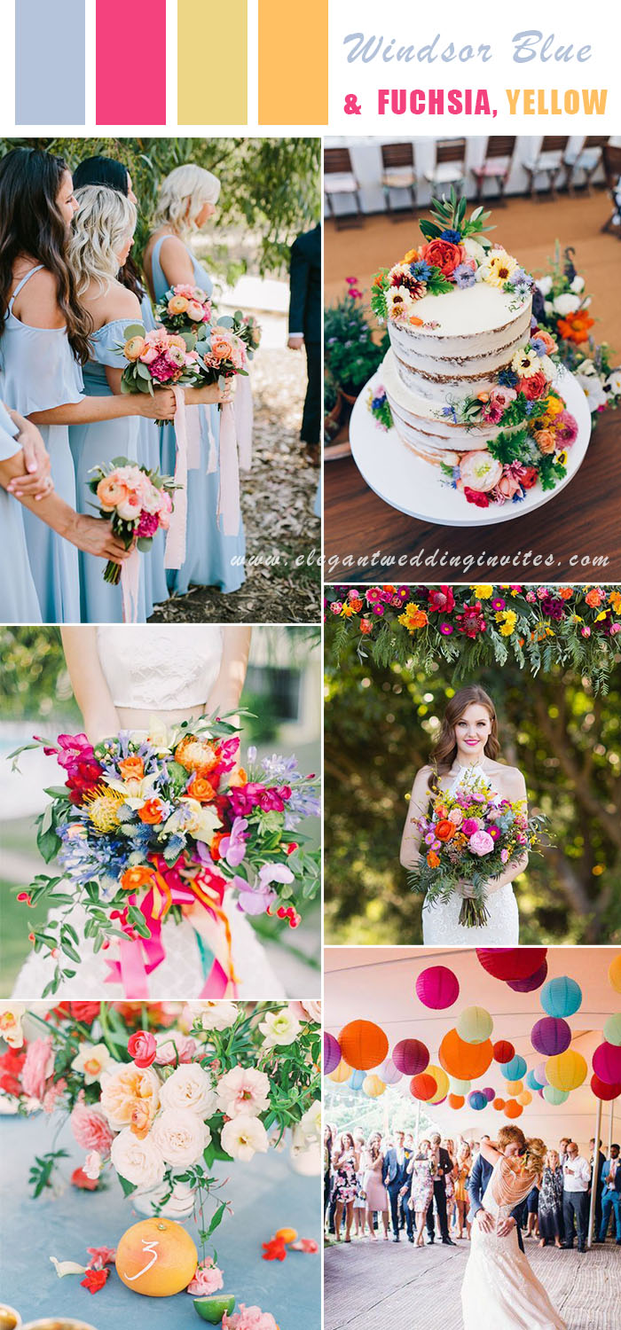 windsor blue, fuchsia and yellow vibrant summer wedding colors