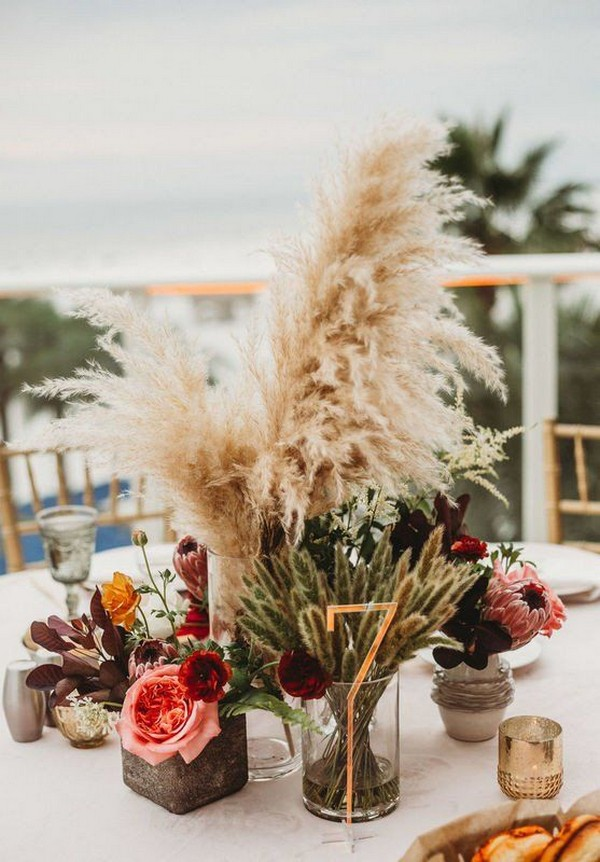 2020 Trend boho rustic wedding centerpieces with pampas grass and unique chic gold table numbers for fall wedding