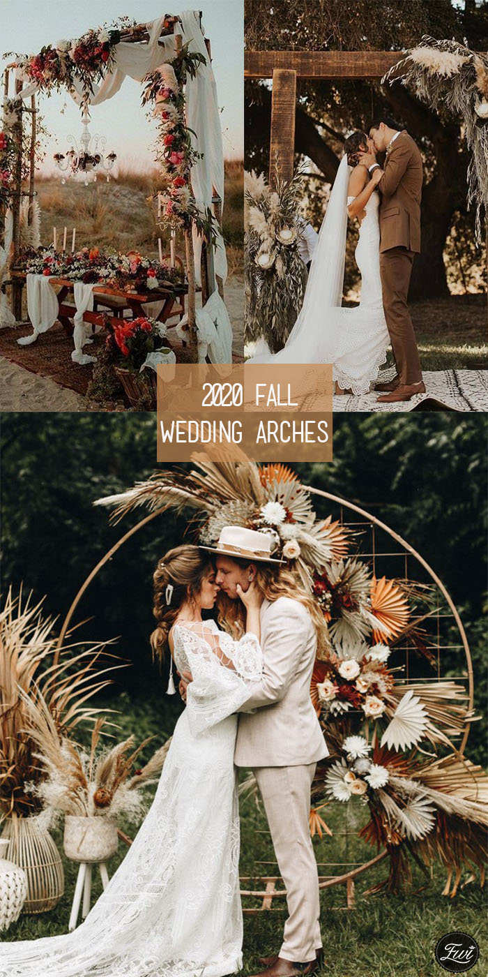 2020 Trend fall rustic and boho wedding arches with dried flowers and pampas grass decorations