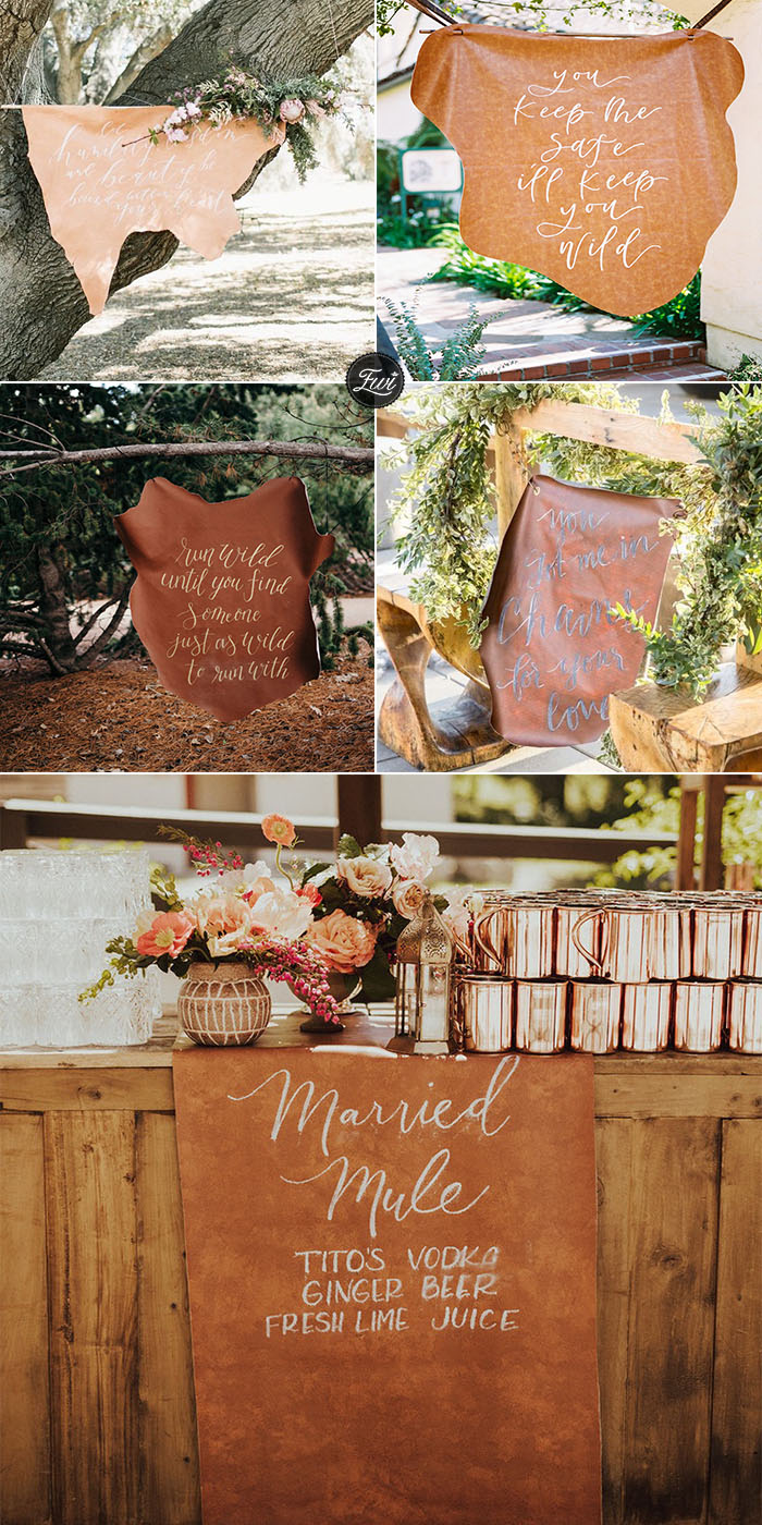 Bohemian-themed brown Leather wedding signs