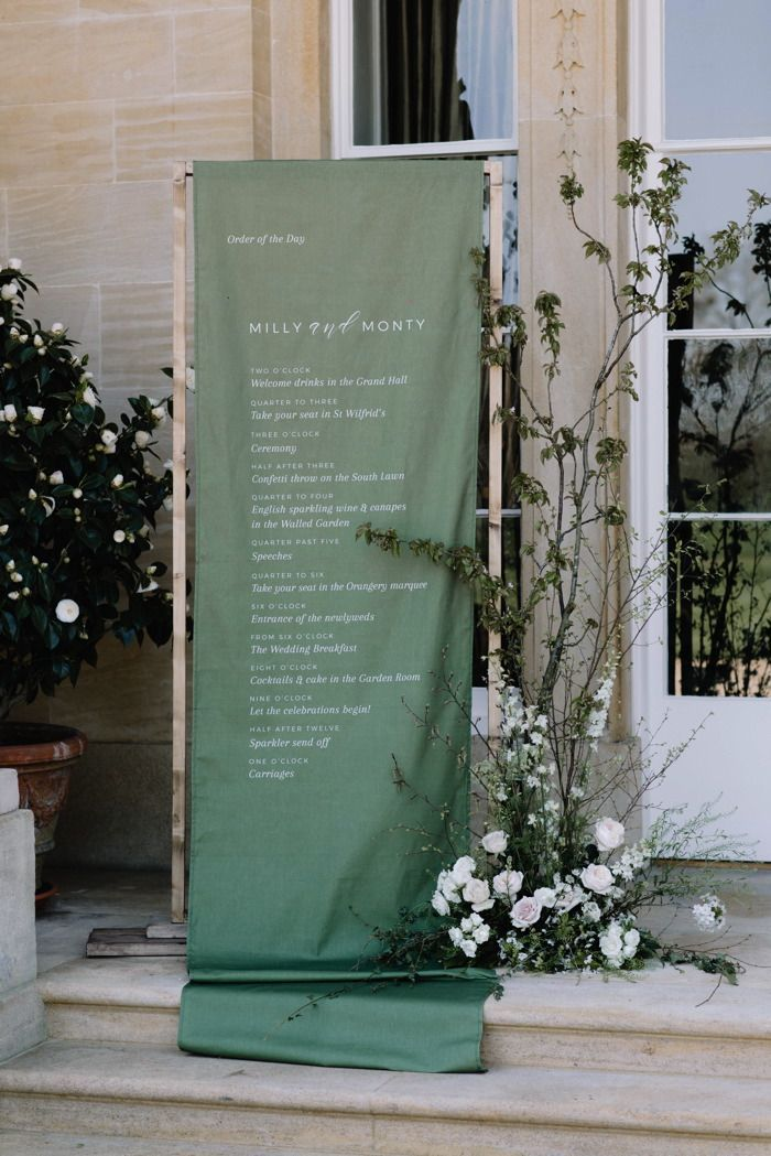 Chic and modern dark green fabric wedding signs