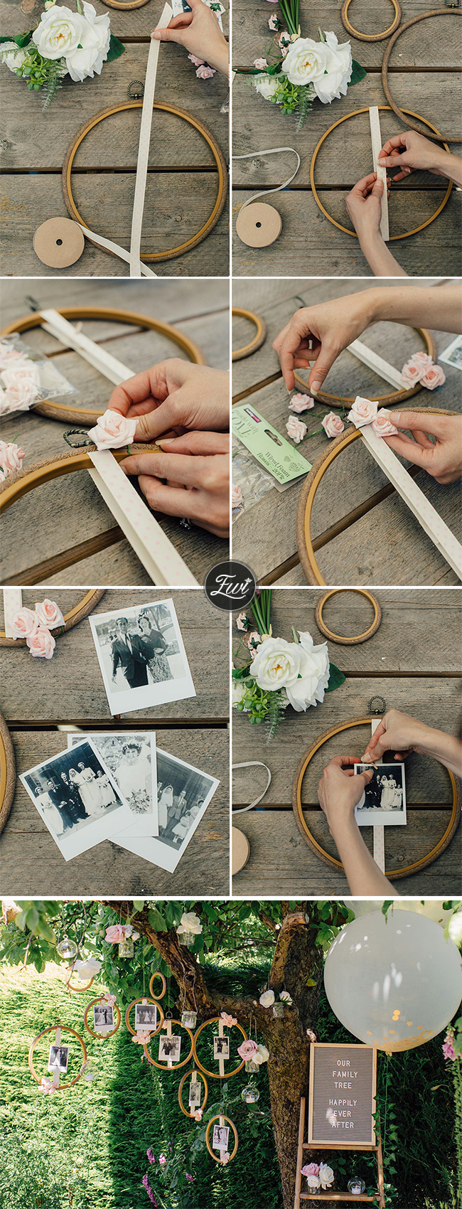 DIY floral hoop wedding photo display ideas