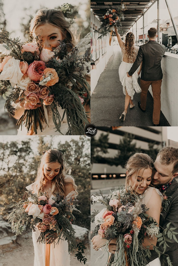 Fall real wedding white and dusty rose bridal bouquet for rustic theme