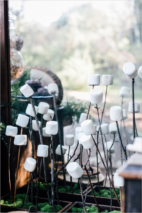 Fall smores bars with cotton candy ideas for rustic wedding theme
