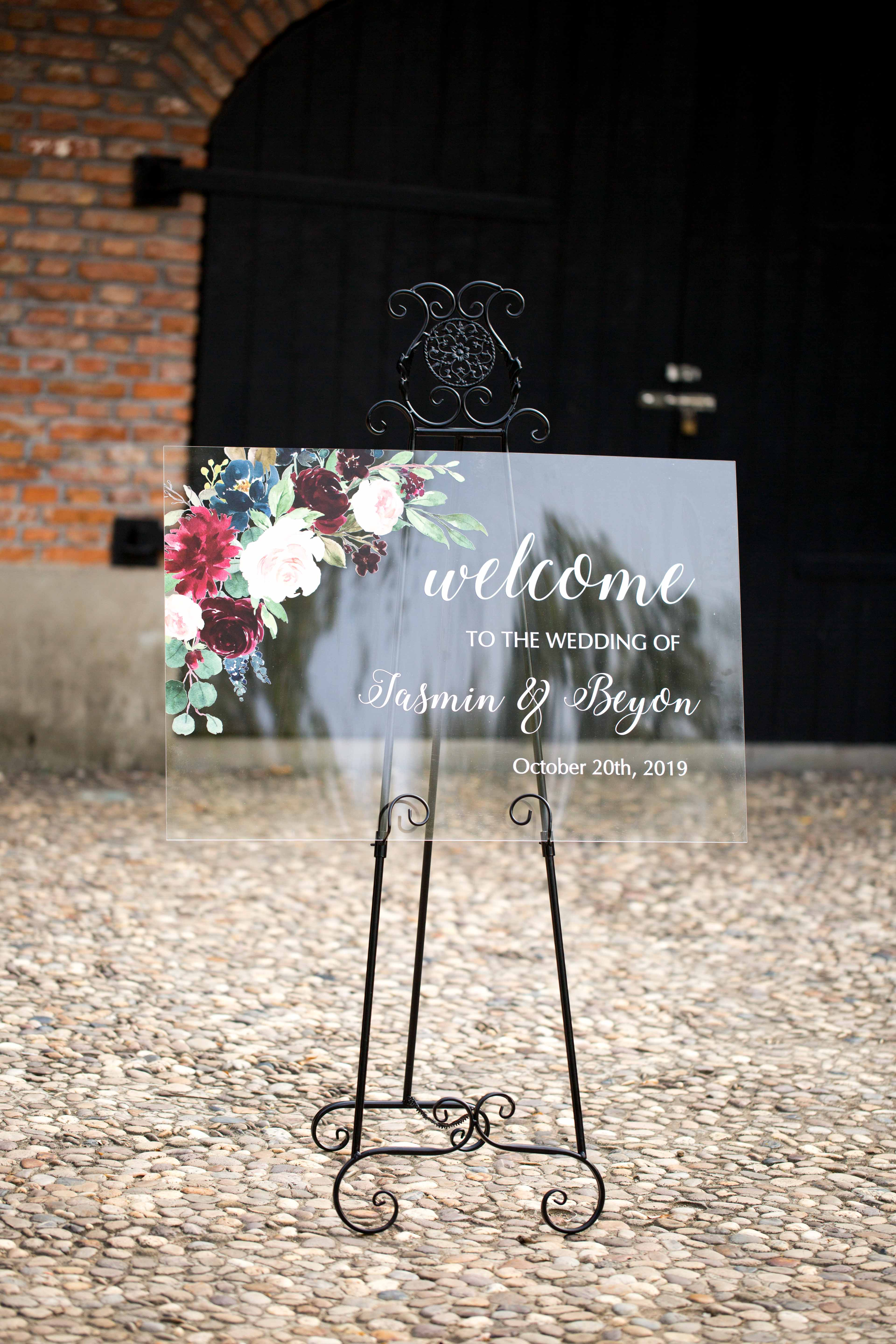 Floral Wedding Sign-Acrylic Welcome Sign Stunning Ivory and Purple Blue EWSG005