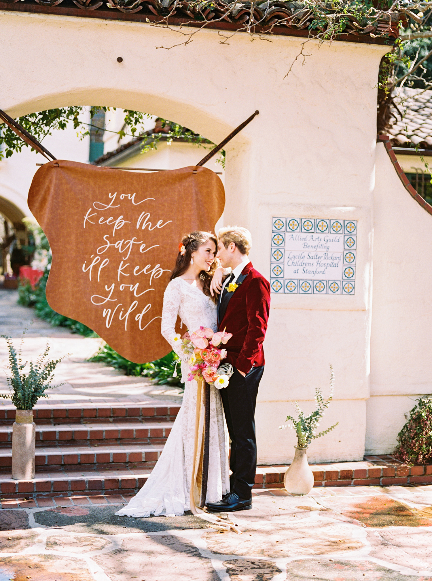 Leather wedding signs for boho wedding theme
