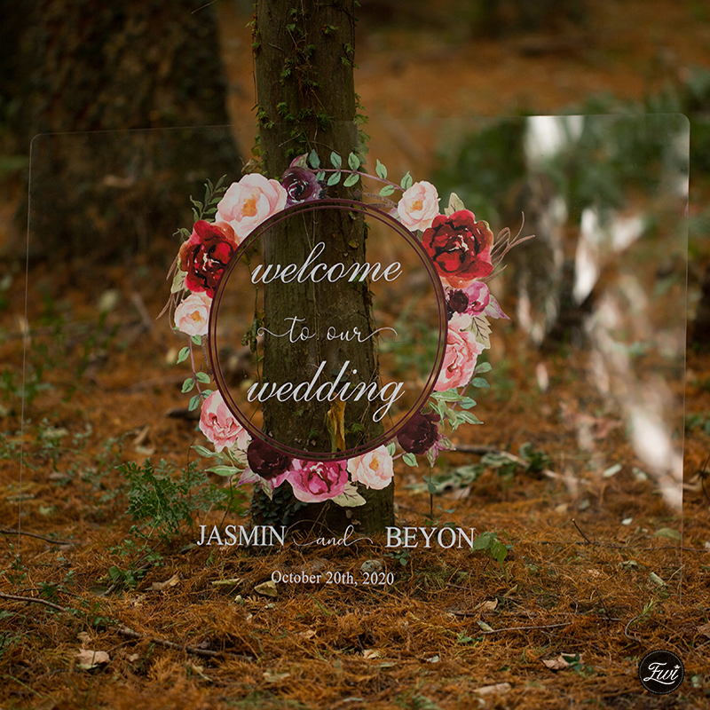 Personalized Wedding Sign-Acrylic Welcome Sign Burgundy Floral Boho Inspired EWSG011