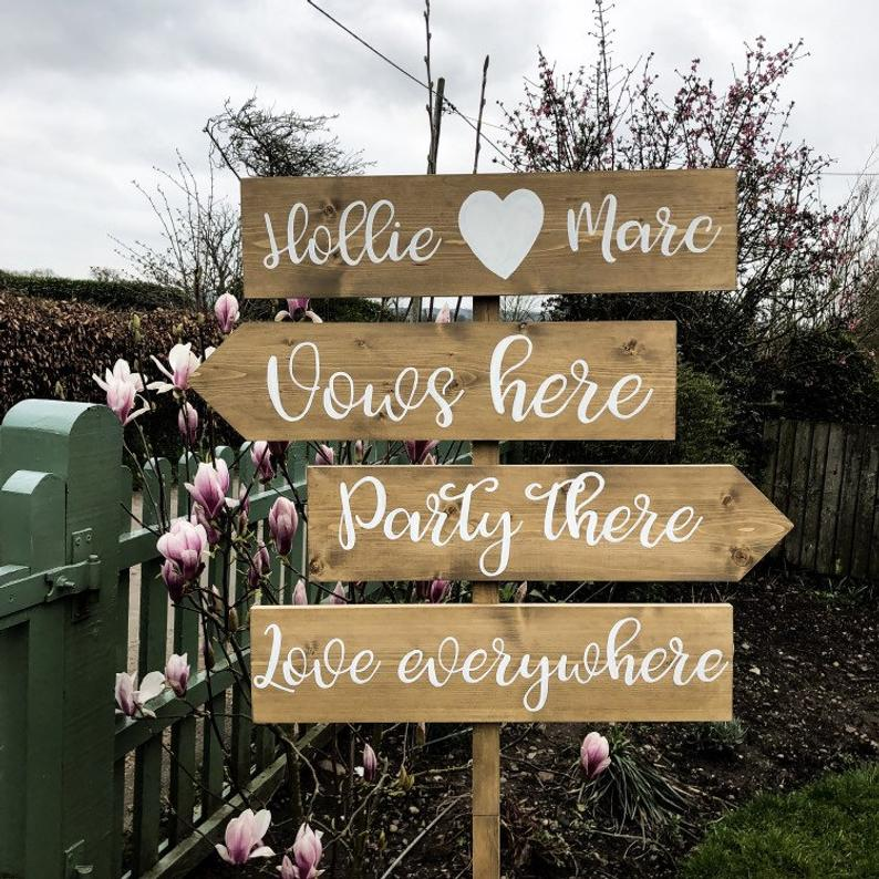 Personalized full and cute direction arrow wooden wedding signs
