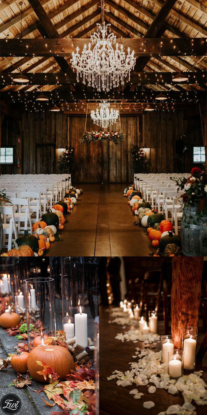 Pumpkin and candles wedding aisle runner decorations for fall wedding