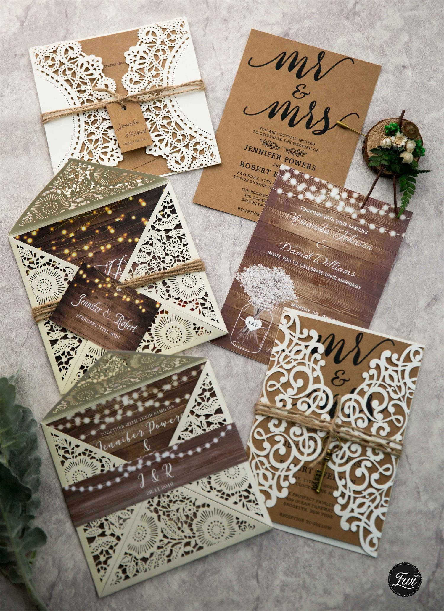 Rustic Times-Ivory Laser Cut Fold invitation with realistic wood background and street light