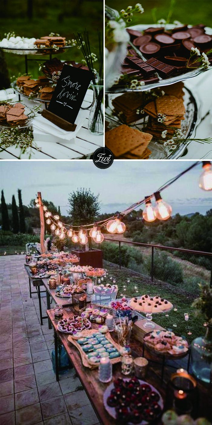Rustic fall wedding smores bars with cookie and chocolate wedding reception food ideas