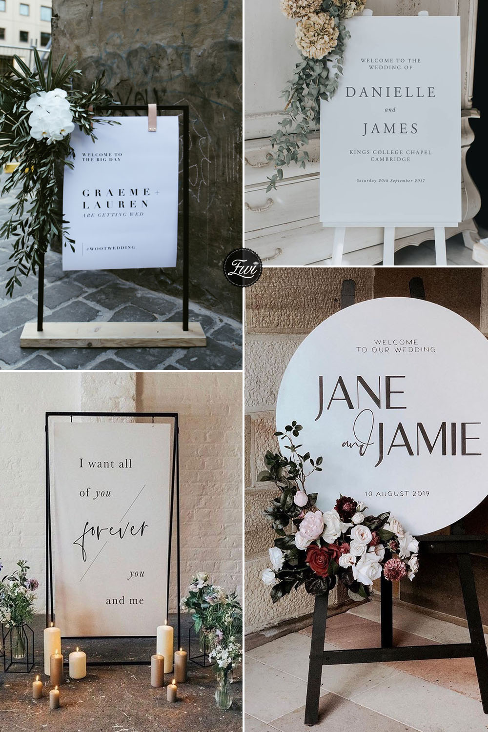 Simple and chic paper wedding signs for modern wedding theme