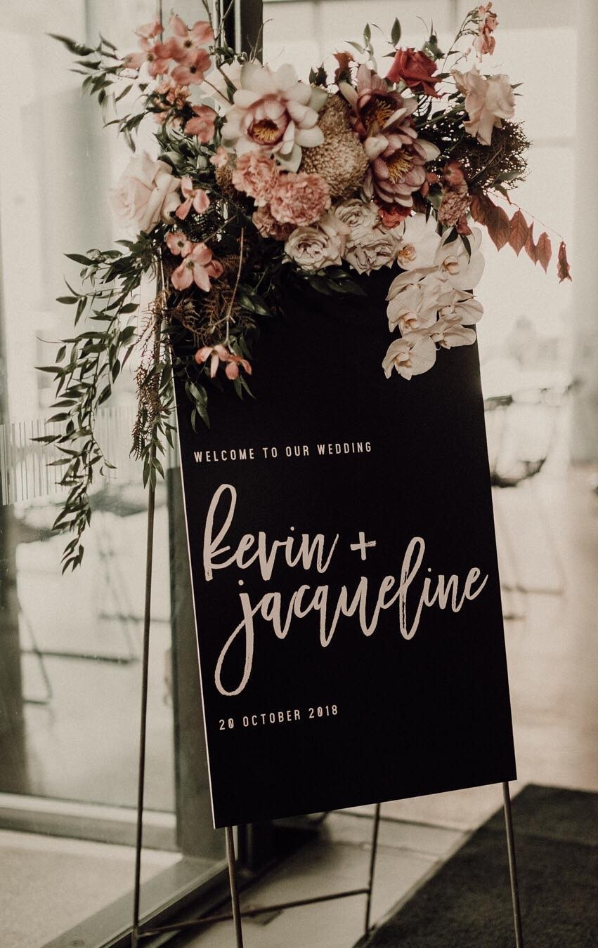 Unique chic paper wedding signs with florals