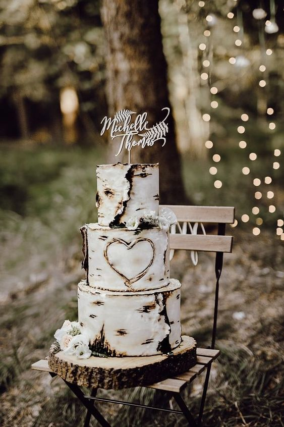 Unique rustic wedding cakes with wooden shapes designs perfect for fall country outdoor wedding theme
