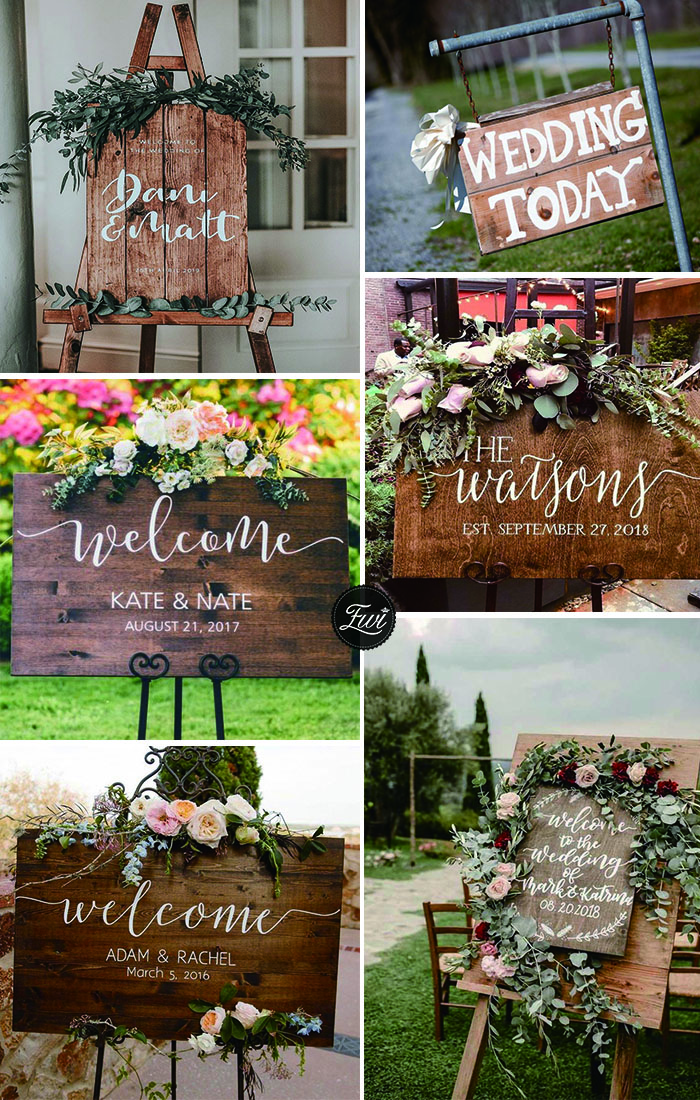 Unique wooden wdding signs perfect for fall rustic wedding theme