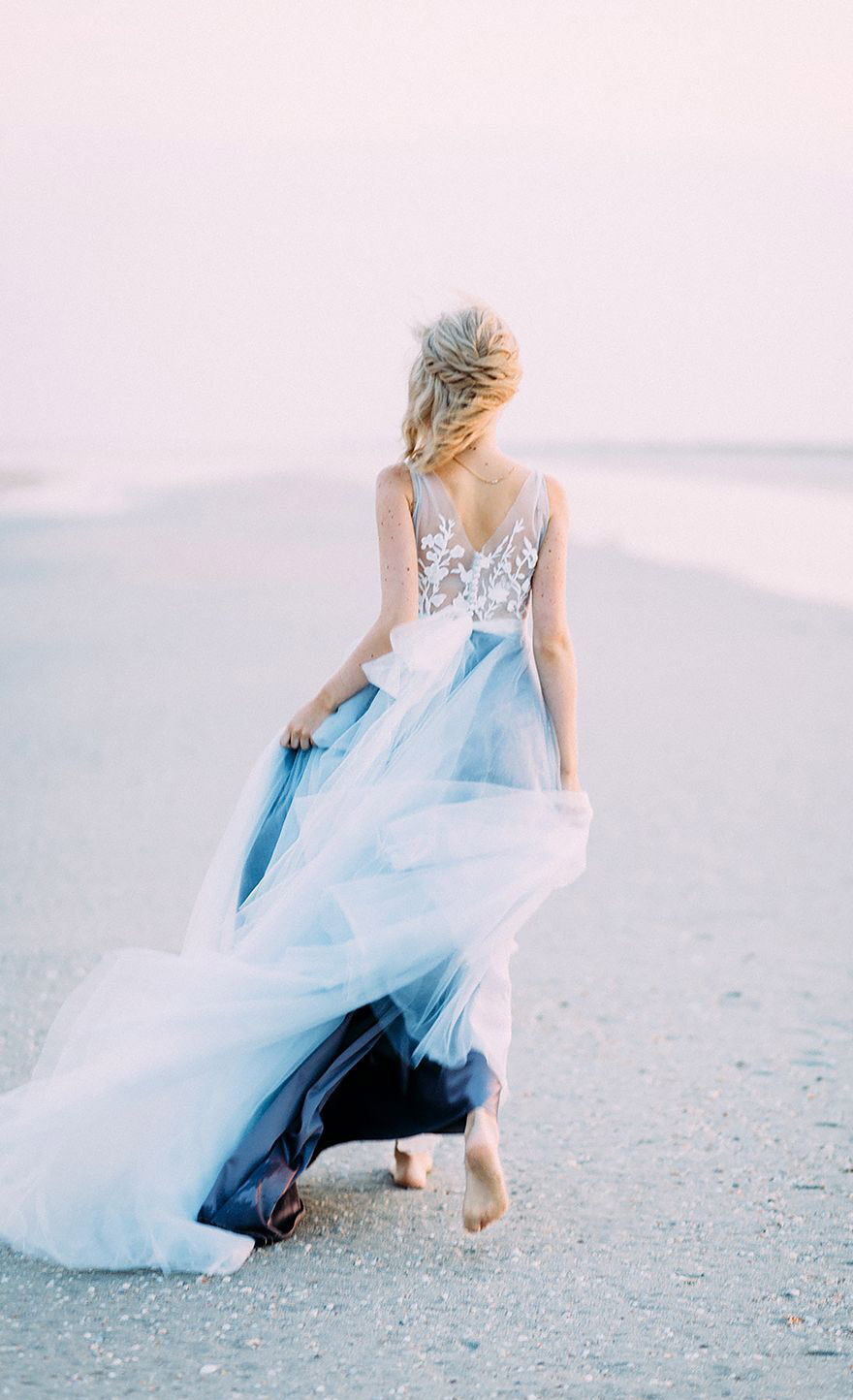 beautiful ombre blue beach bridal gowns
