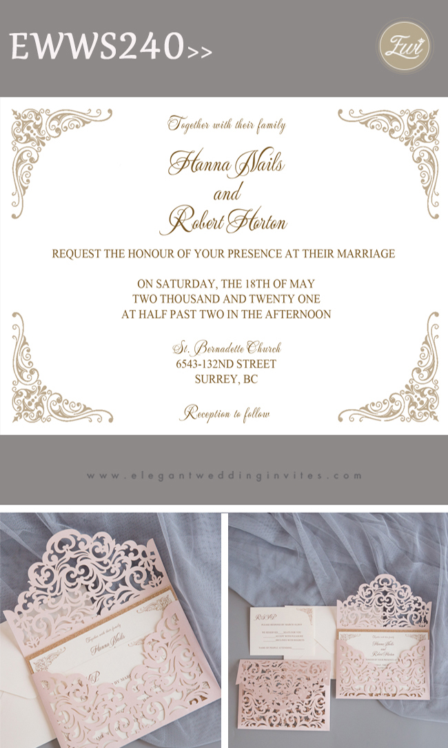 blush shimmer laser cut sleeve with classic invitation and glittery backer