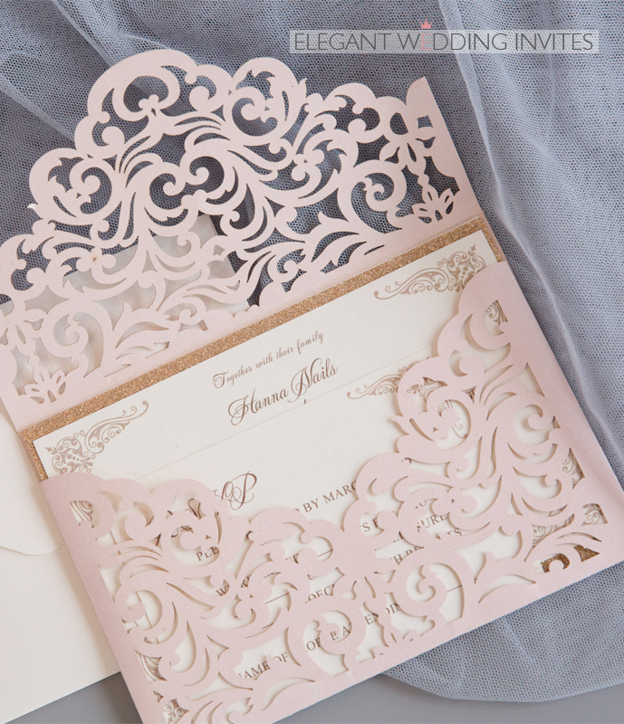 blush shimmer laser cut wedding invitations with glittery rose gold backer