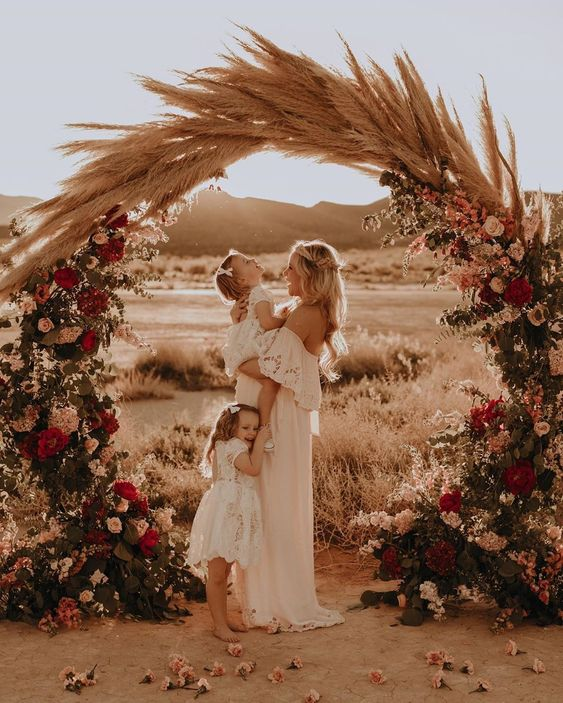 bohemian pampas grass wedding arch ideas