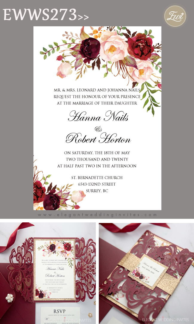 burgundy laser cut wedding invitation with floral and glittery belly band and backer