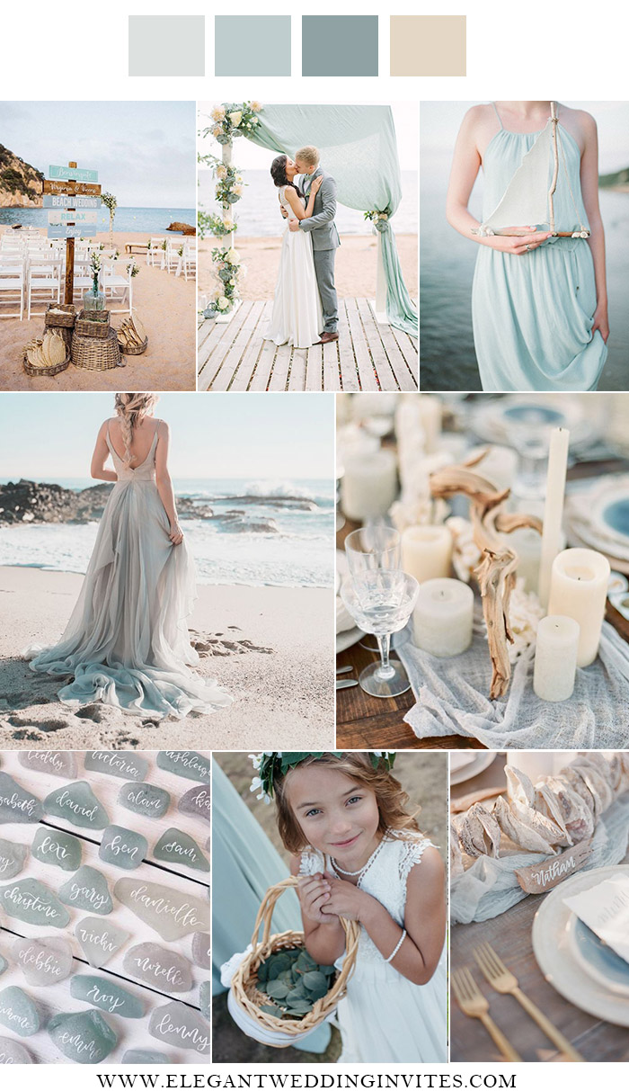 casual light blue and sage beach side wedding color combos