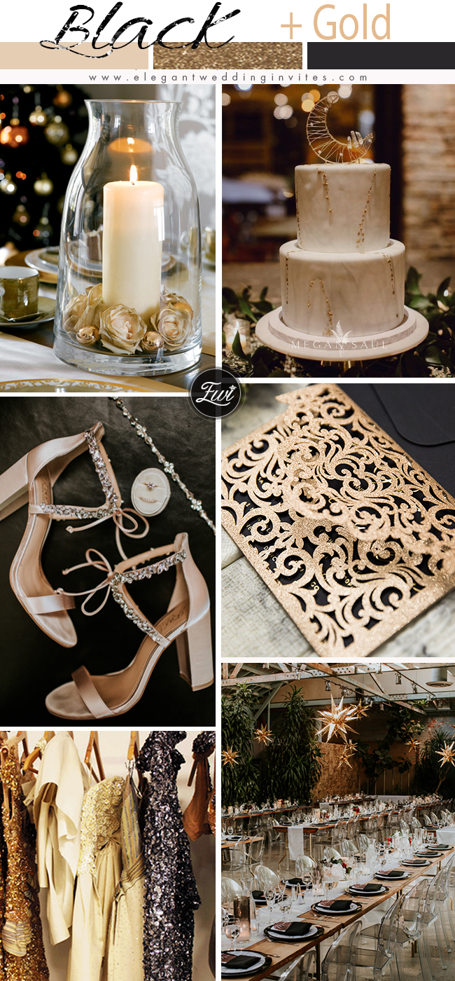 classic and luxury black and rose gold champagne glitter wedding color ideas