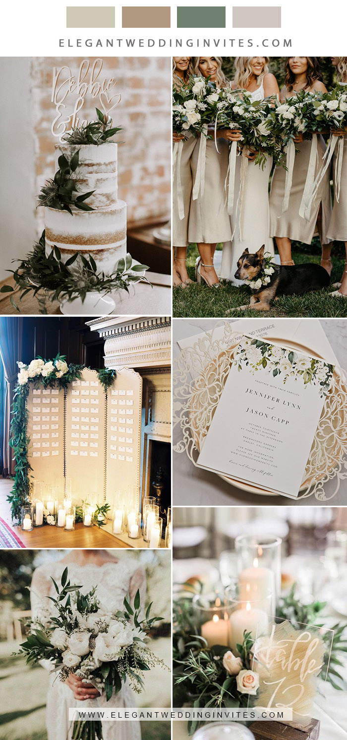 classic champagne, white and greenery neutral wedding color inspiration