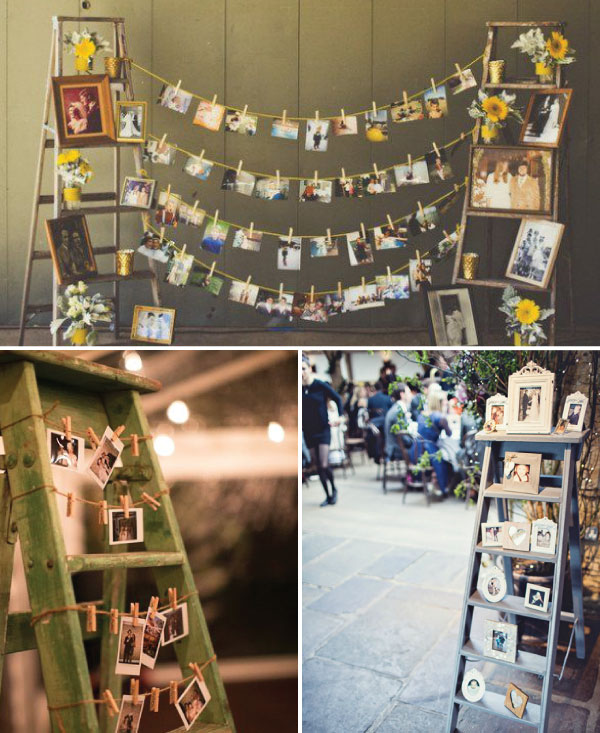 climbing up the ladder wedding photo display ideas