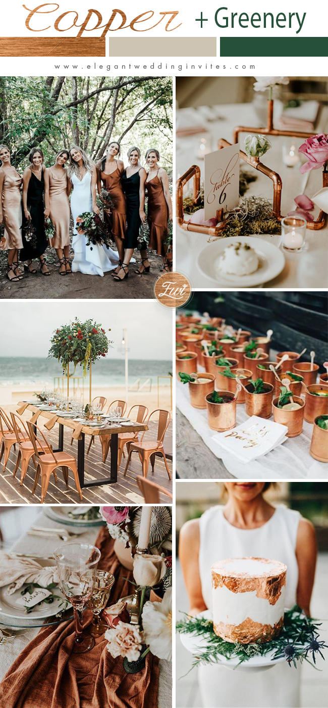 copper metallic and greenery wedding color template ideas perfect for fall wedding