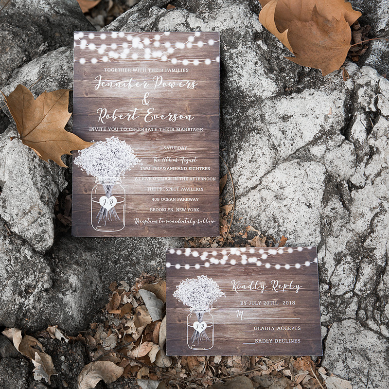country babybreath and stringlights wedding invites