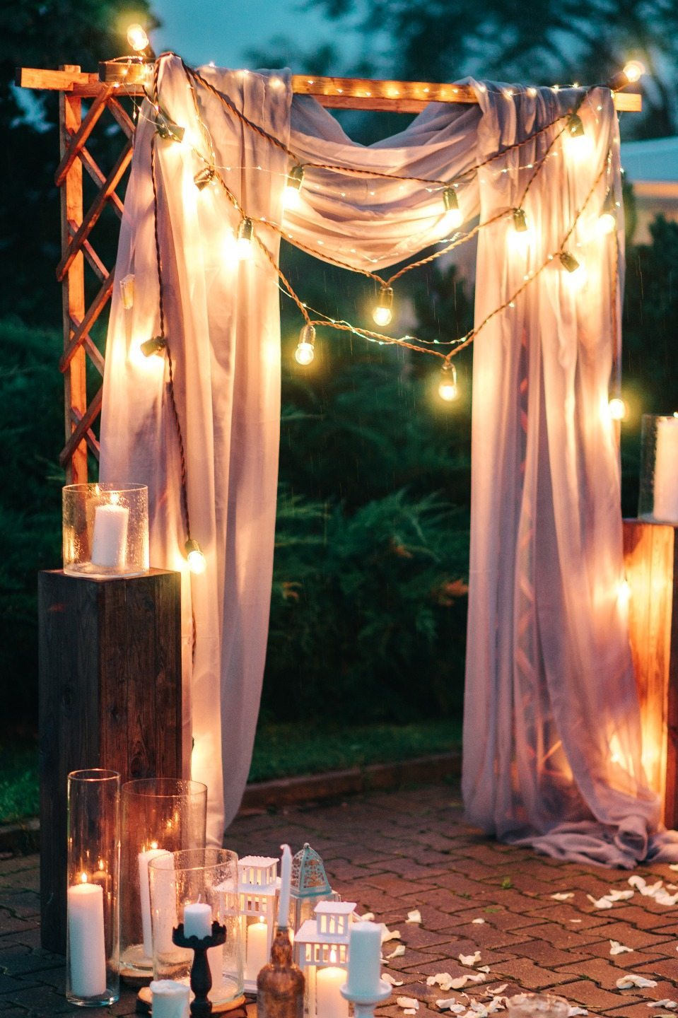 dreamy rustic weddng altar ideas with string lights