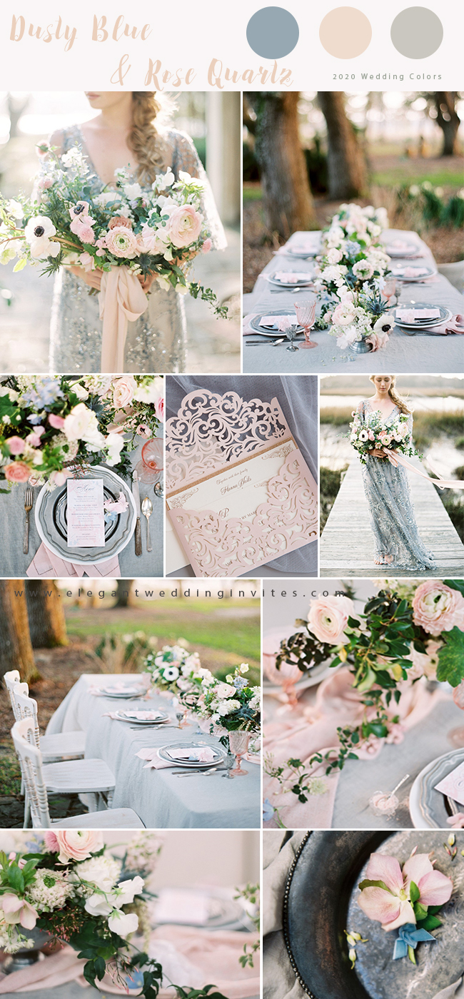 dusty blue and blush wedding color inspiration