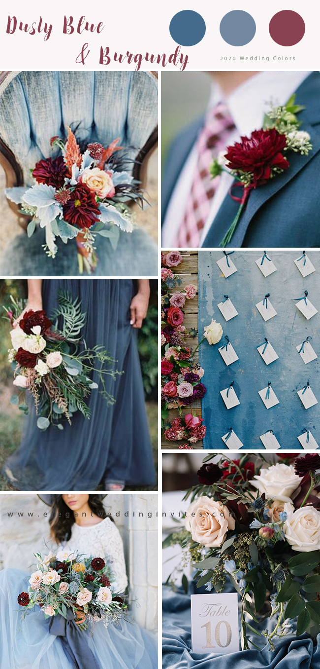 dusty blue and burgundy color ideas for fall wedding