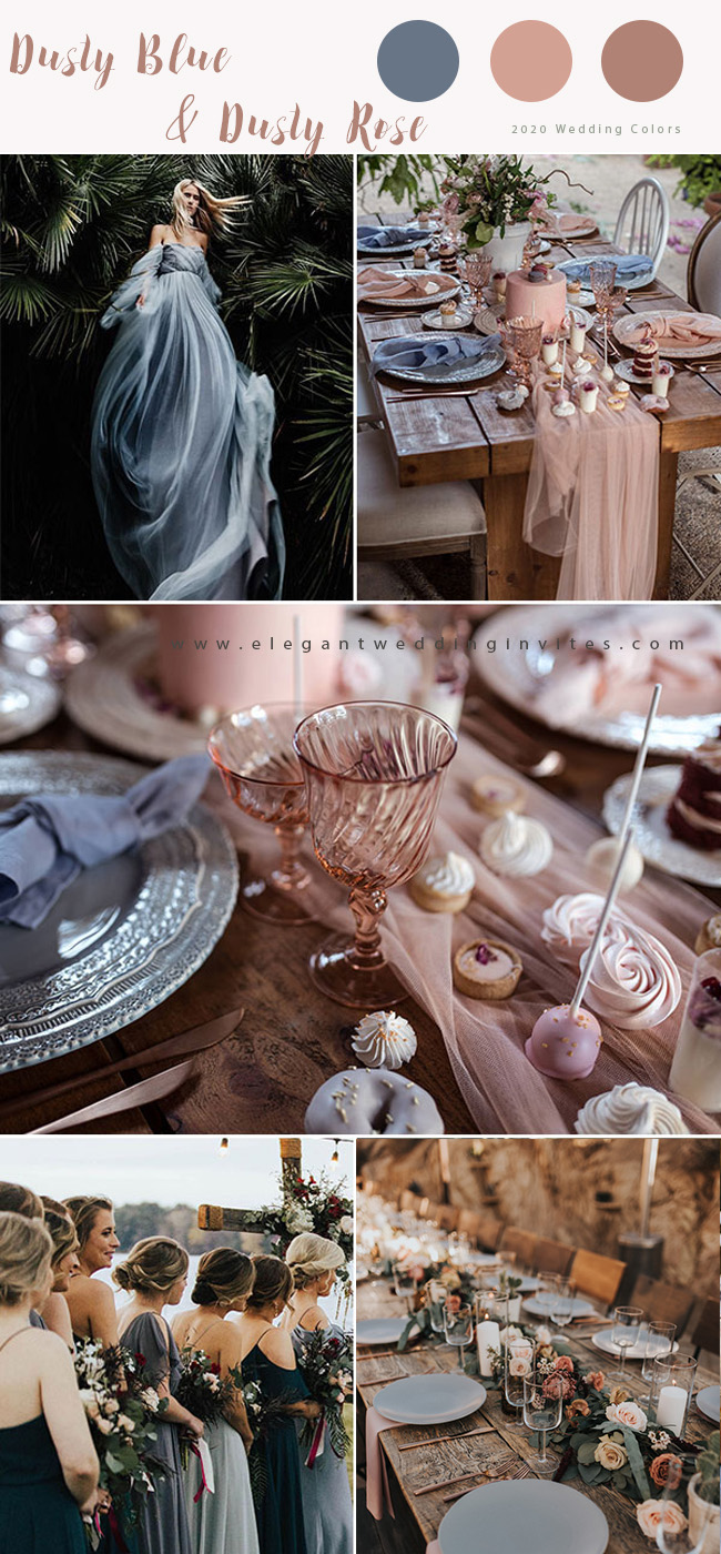 dusty blue and dusty rose wedding color ideas for 2020 trends