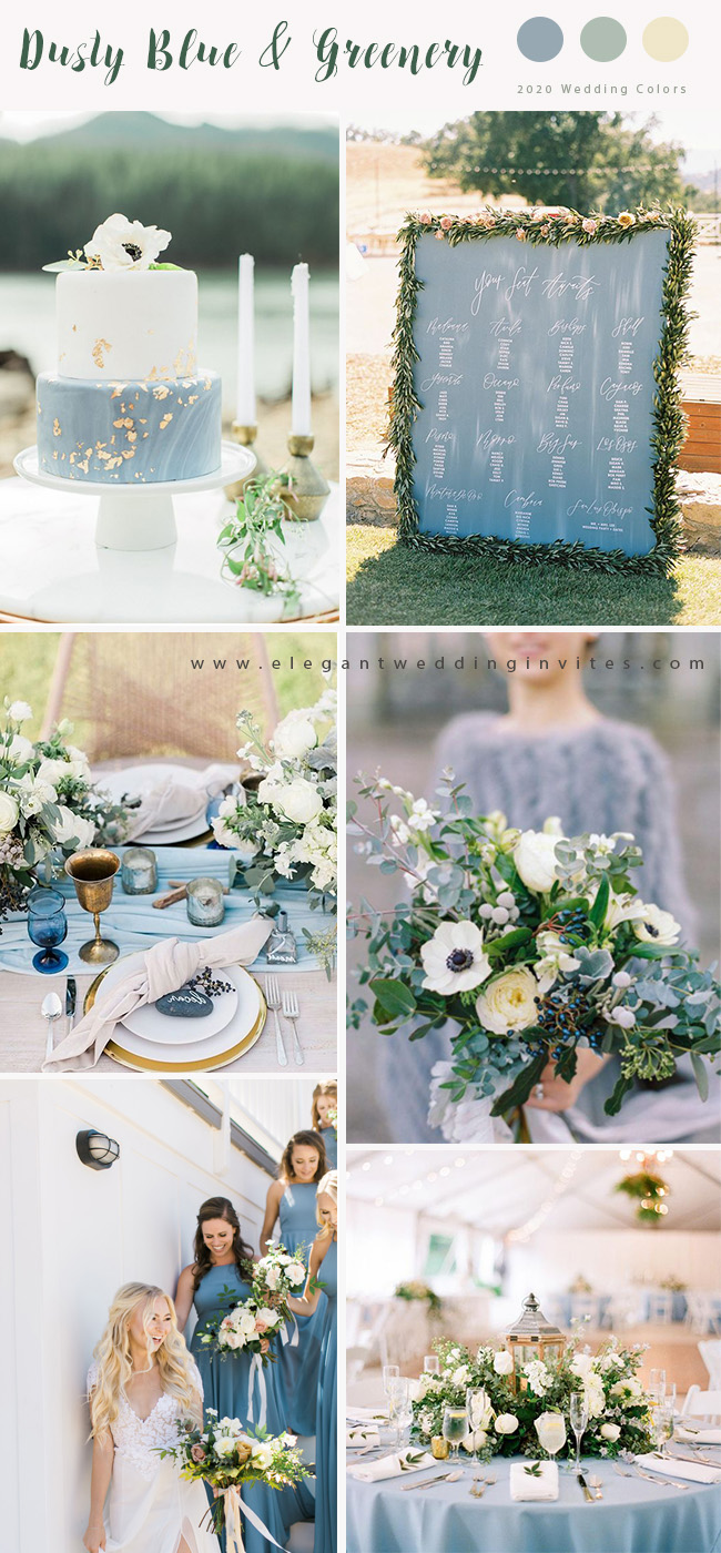 dusty blue and greenery wedding color ideas