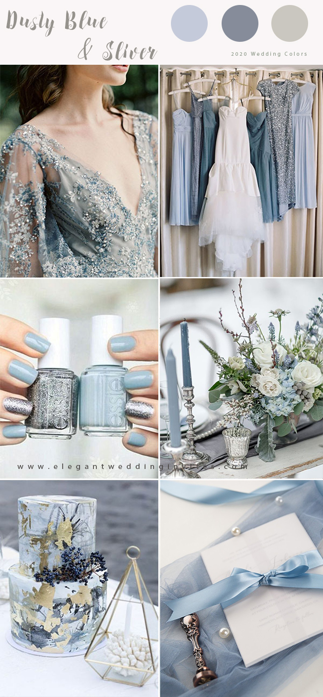 dusty blue and silver color combo for winter wedding