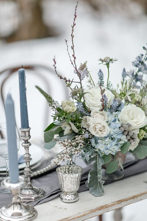dusty blue and silver wedding table setting ideas with candles
