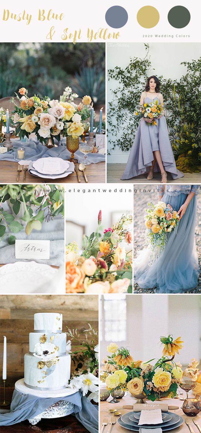 dusty blue and soft yellow wedding color ideas