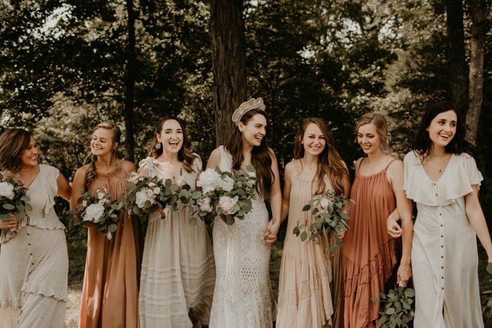 dusty rose wedding bridesmaid dresses for boho backyard wedding