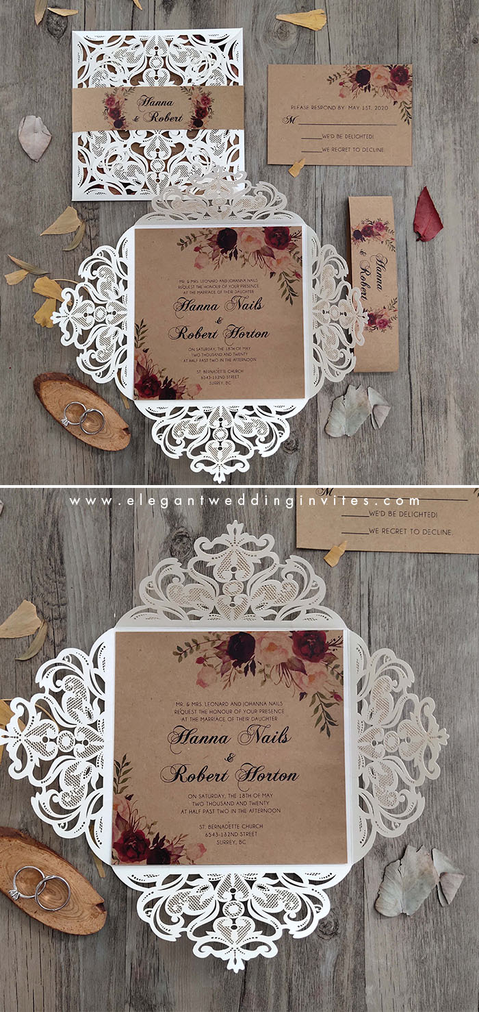 earthy tone and burgundy floral laser cut wedding invitation suite